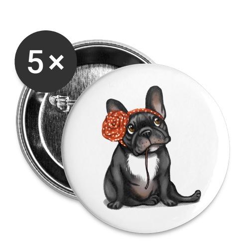 Badge bouledogue français Olga - Badge grand 56 mm
