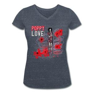 POPPY LOVE Damen Baumwolle aus ökologischem Anbau - Frauen Bio-T-Shirt mit V-Ausschnitt von Stanley & Stella