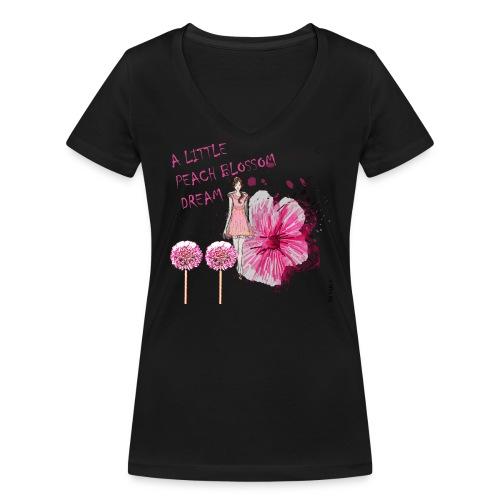 A LITTLE PEACH BLOSSOM DREAM Damen, BW aus ökologischem Anbau - Frauen Bio-T-Shirt mit V-Ausschnitt von Stanley & Stella