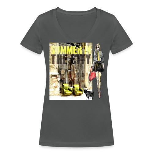 SUMMER IN THE CITY Damen Baumwolle aus ökologischen Anbau - Frauen Bio-T-Shirt mit V-Ausschnitt von Stanley & Stella