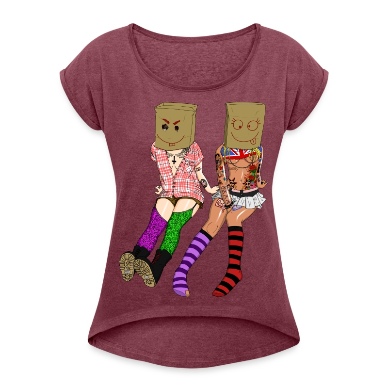 Brown Paper Bag Girls - Frauen T-Shirt mit gerollten Ärmeln