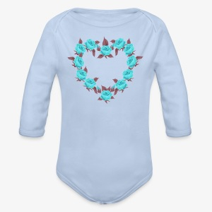 Bue roses heart patjila designer - Organic Longsleeve Baby Bodysuit