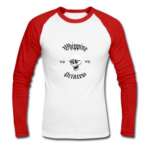 Vit/röd långärmad med logga - Men's Long Sleeve Baseball T-Shirt