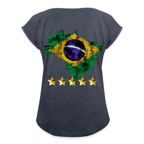 T-shirt à manches retroussées Femme - italie,espagne,Hop suisse,France,Coupe du monde 2014,Bézil,Brazil 2014,Algérie