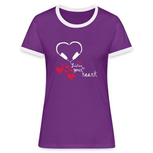 Listen to your heart (girls, brown) - Frauen Kontrast-T-Shirt