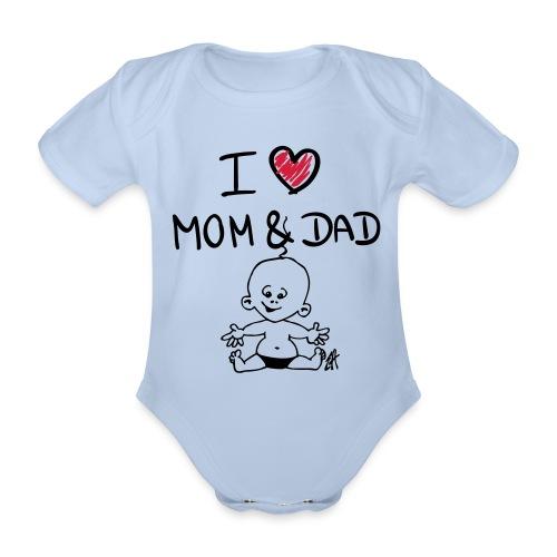love mom and dad - Ekologisk kortärmad babybody