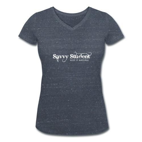 Savvy Student Damen-V-Shirt Druck weiß (vorne) - Frauen Bio-T-Shirt mit V-Ausschnitt von Stanley & Stella