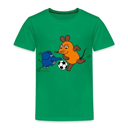 Maus und Elefant spielen Fussball - Kinder Premium T-Shirt