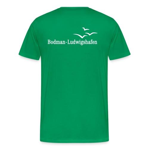 Männer Premium T-Shirt - Mit Flockdruck auf Brust und Rücken.