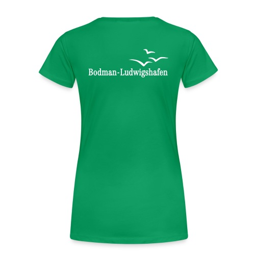 Frauen Premium T-Shirt - Mit Flockdruck auf Brust und Rücken.