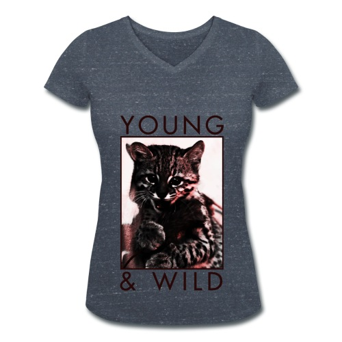 Young & Wild Kitten - Women's Organic V-Neck T-Shirt by Stanley & Stella