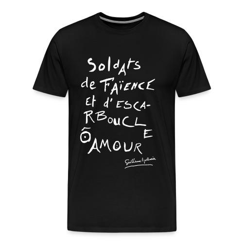 T-shirt Homme - Calligramme Soldat de faïence (blanc) - T-shirt Premium Homme