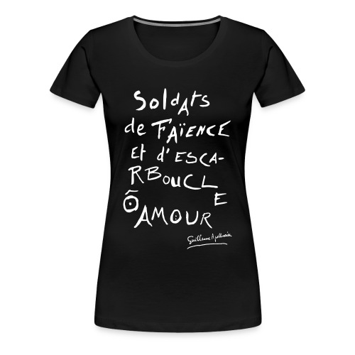 T-shirt Femme - Calligramme Soldat de faïence (blanc) - T-shirt Premium Femme