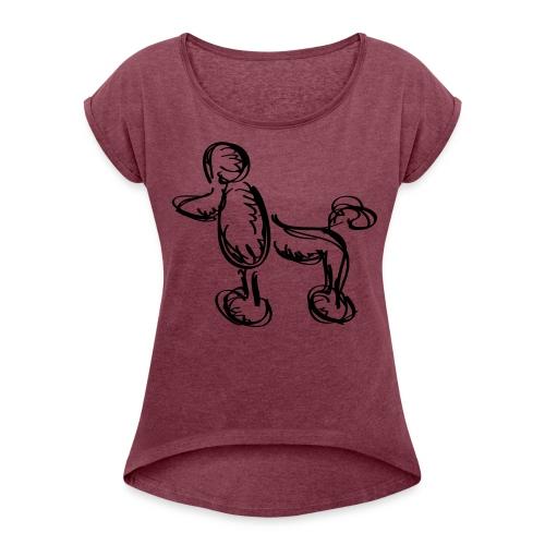 Kapuzenpullover - Frauen T-Shirt mit gerollten Ärmeln