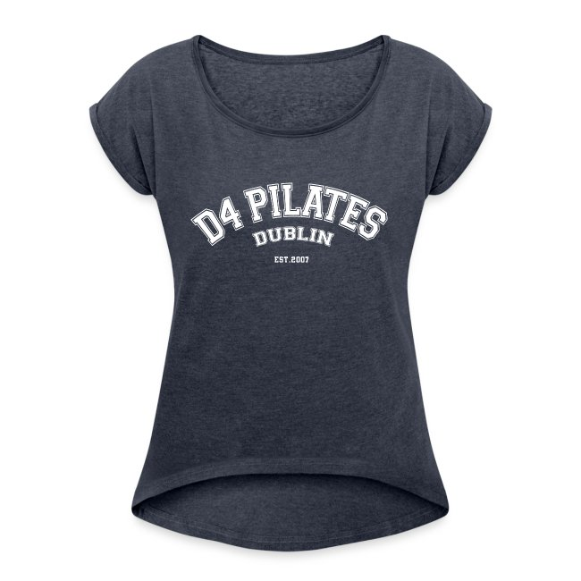 College-style t-shirt - Women (rolled sleeves, navy heather)