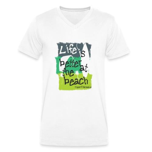 Life is Better at the Beach / Icewhite - Männer Bio-T-Shirt mit V-Ausschnitt von Stanley & Stella