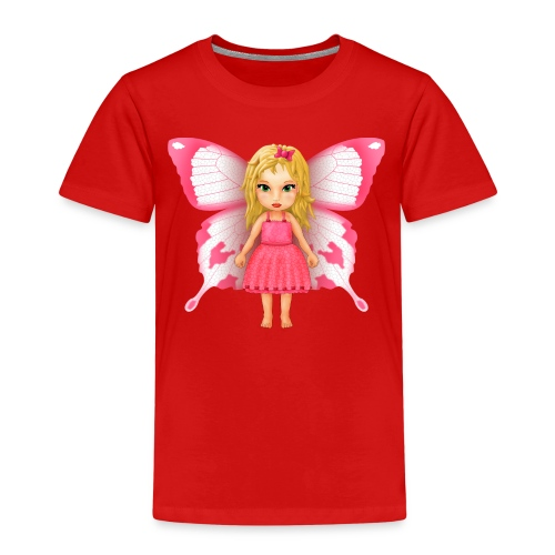 Kids' T-Shirt - Girly Pink Butterfly Fairy - Kids' Premium T-Shirt