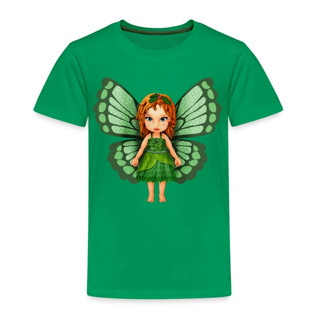 Kids' T-Shirt - Green Leaf Butterfly Fairy