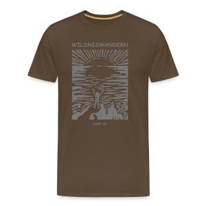 Logo Wildniswandern, grau auf edelbraun - Männer Premium T-Shirt
