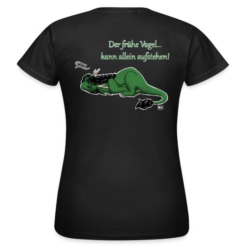 Drachi Dragon müde grün/green FrauenT-Shirt Backdruck - Frauen T-Shirt