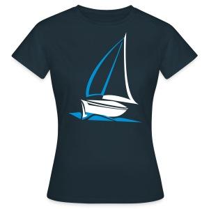 TEXTSHIRT  Segelyacht Damen Designshirt mit Rückentext - Frauen T-Shirt
