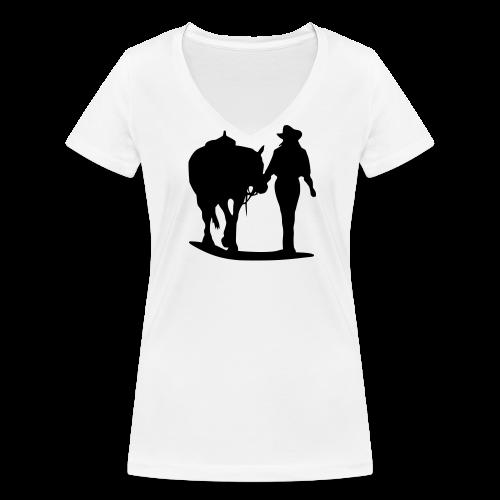 Cowgirl - Frauen Bio-T-Shirt mit V-Ausschnitt von Stanley & Stella