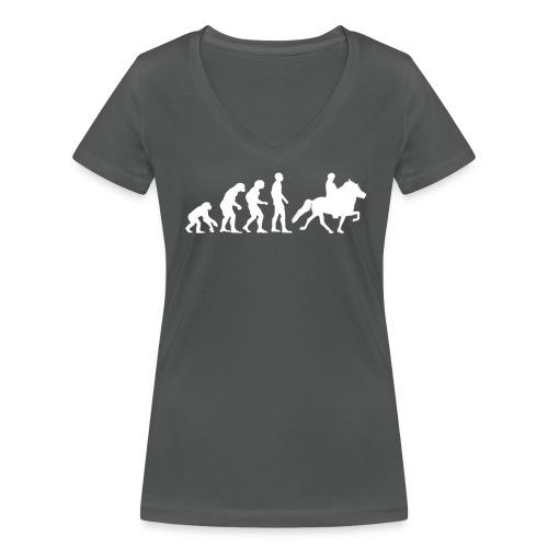 Frauen T-Shirt Evolution Islandpferdereiter - Frauen Bio-T-Shirt mit V-Ausschnitt von Stanley & Stella