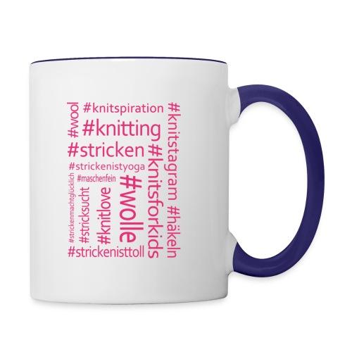 Strick-Hashtags Tasse pink - Tasse zweifarbig