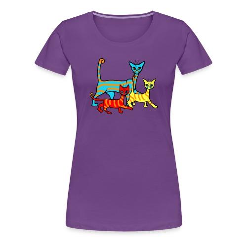 T-shirt femme - famille chats rayés - T-shirt Premium Femme