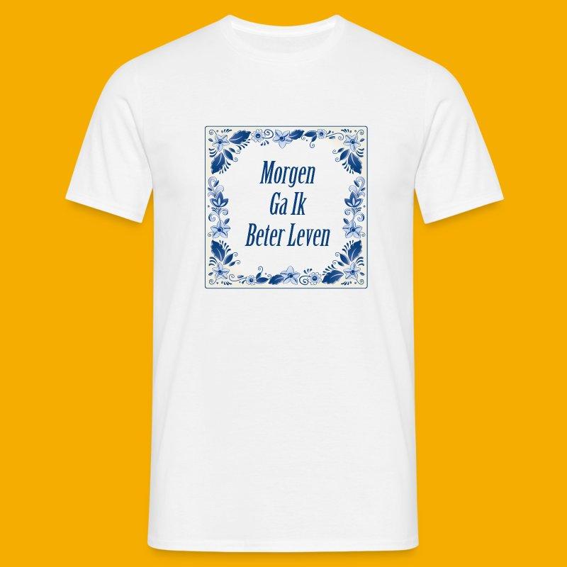 Delfts-blauw - voor & achter - Mannen T-shirt