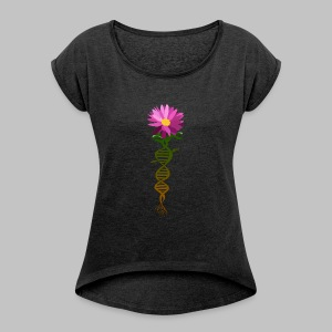 T-shirt femme (woman) DNA Flower - Women's T-shirt with rolled up sleeves