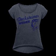 T-Shirts ~ Frauen T-Shirt mit gerollten Ärmeln ~ Decksteiner Weiher Girl (blauer Druck)