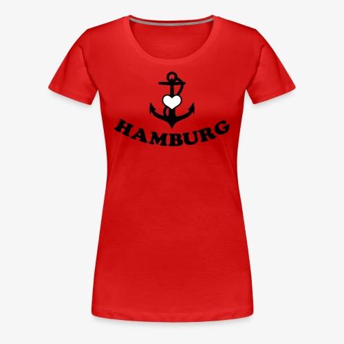 Hamburg meine Liebe I LOVE  Herz auf Anker Heart FrauenT-Shirt - Frauen Premium T-Shirt