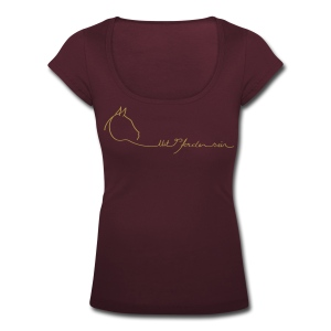MPS Logo Gold Glitter Back: MPS Cover Gold Glitter Women´s Shirt U-Neck - Frauen T-Shirt mit U-Ausschnitt