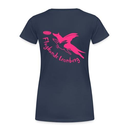 Frauen-T-Shirt freie Farbwahl neonpink + Name auf der Vorderseite - Frauen Premium T-Shirt