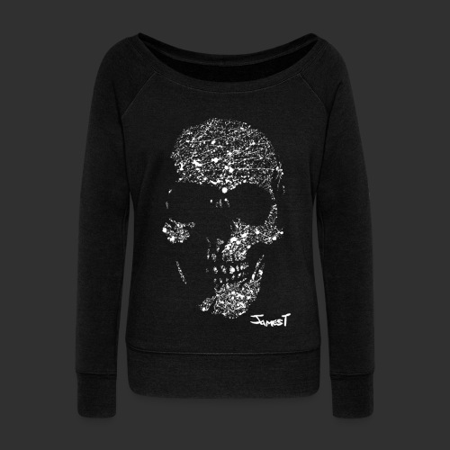 Women's Skull Scoop Jumper - Women's Boat Neck Long Sleeve Top