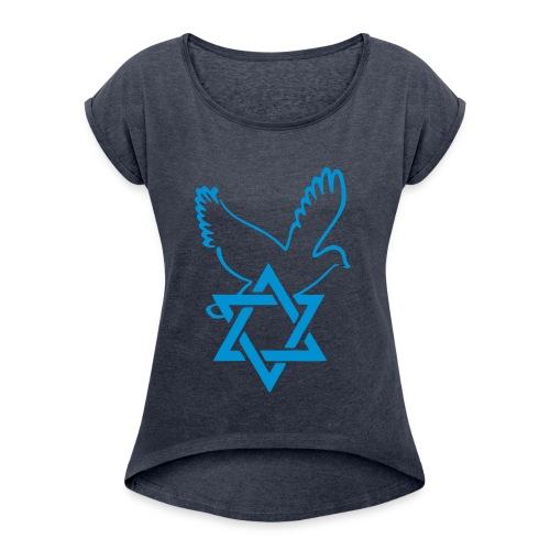 T-Shirt Femme Etoile - T-shirt à manches retroussées Femme
