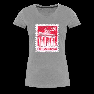 Berlin T-Shirt Brandenburger Tor Briefmarke 1948 (Damen Grau) - Frauen Premium T-Shirt