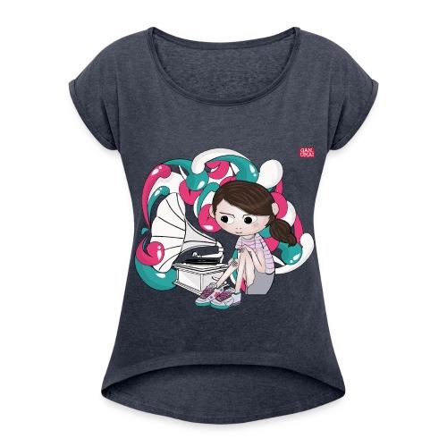 Tee-shirt Fillette au Phonographe - T-shirt à manches retroussées Femme