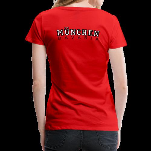 München Bavaria T-Shirt (Damen Schwarz/Weiß) Rücken - Frauen Premium T-Shirt