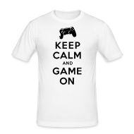T-Shirts ~ Männer Slim Fit T-Shirt ~ Keep Calm Game On - PS4