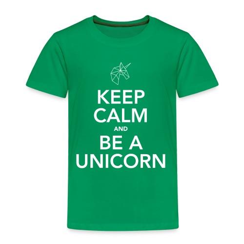 Kinder T-shirt Keep calm and be a unicorn van Zeldzaam Mooi - Kinderen Premium T-shirt