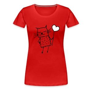 Katze -  Liebe, Love und Herz - Frauen Premium T-Shirt