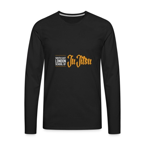 Black Long Sleeves - Large Logo Front & Black - Men's Premium Longsleeve Shirt