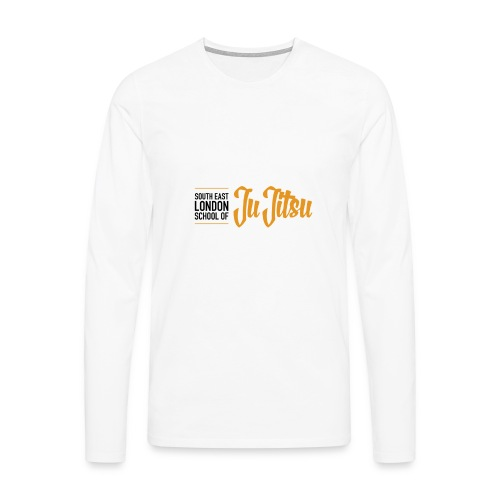 White Long Sleeves - Large Logo Front & Black - Men's Premium Longsleeve Shirt