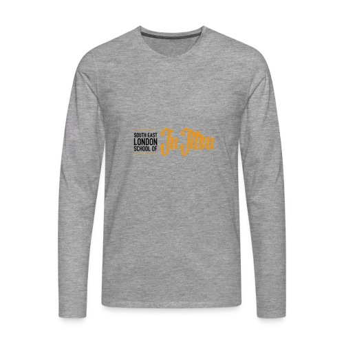 Grey Long Sleeves - Large Logo Front & Black - Men's Premium Longsleeve Shirt
