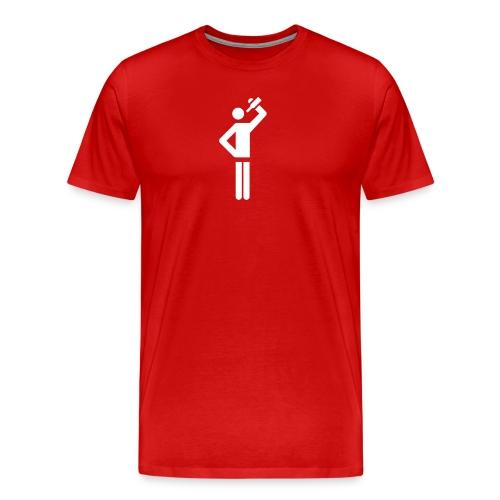 Fluckyball Trinkpose Groß (Logo weiss) - Männer Premium T-Shirt