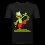 T-Shirts ~ Männer Slim Fit T-Shirt ~ Matschfrosch wirft mit Schlamm