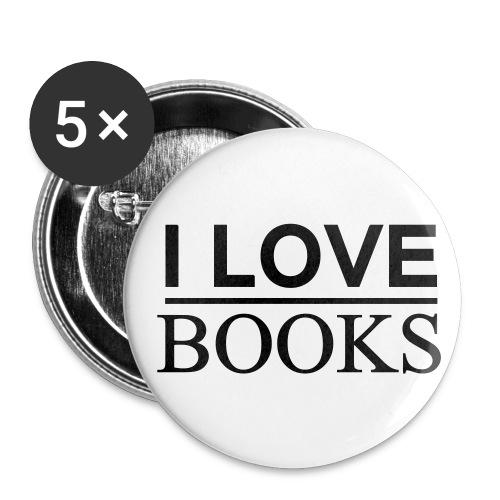 Buttons mittel 32 mm - I LOVE BOOKS I Mehr auf Facebook unter WORTFORM