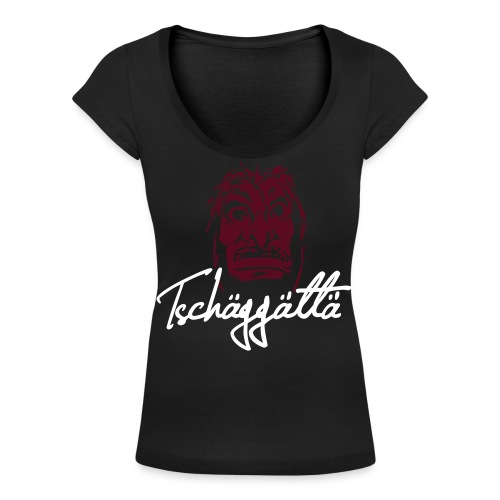 Women's Scoop Neck T-Shirt - Tschäggättä flexography logo   - Women's Scoop Neck T-Shirt